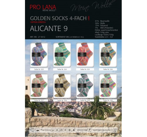 Alicante 9 - Golden Socks Cotton Stretch von Pro Lana