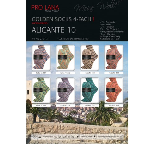 "Golden Socks Cotton Stretch ""Alicante 10"" von Pro Lana"